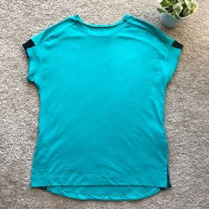 Adidas Bright Teal Short Sleeve Top With Side Slit